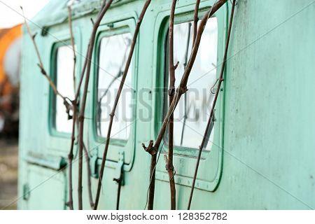 Blue trailer windows close up