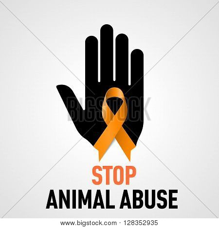 Stop Animal Abuse sign. Black hand with orange ribbon on grey background