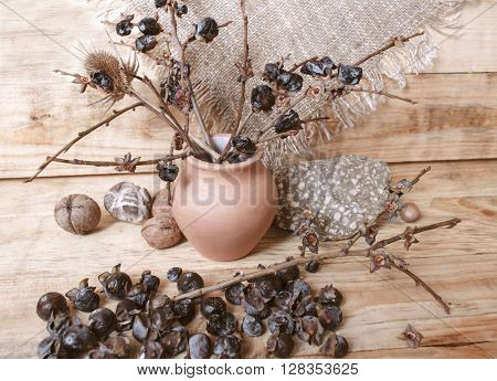 Berries are small wild persimmon and broken branches in a clay pot on a wooden board