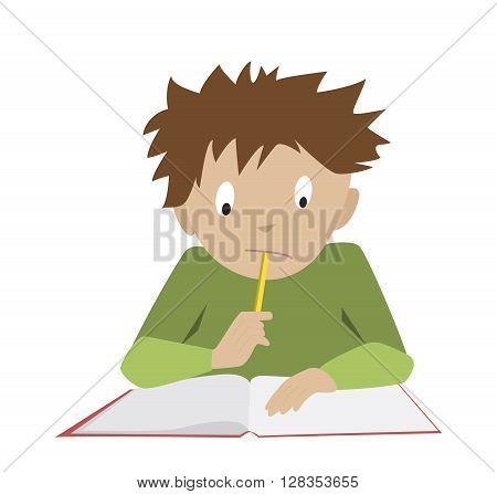 Studying boy. Funny reading student. Flat cartoon vector of thinking schoolboy.