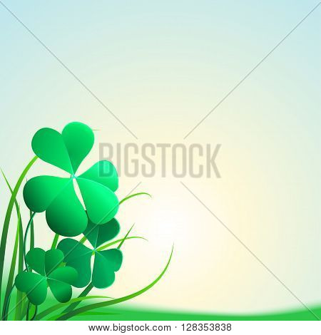 Illustration of clover leaves and grass on a blue background. Field clover leaves. Background with clover and glass for St. Patrick's day