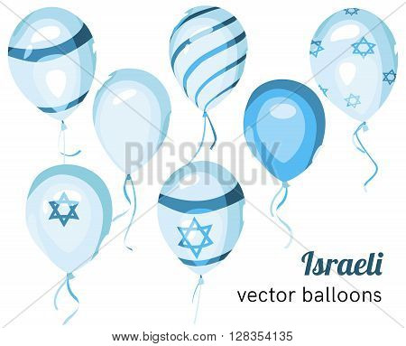 Set of Israeli styled vector balloons. Flag of Israel on balloon. Celebration elements. Independence Day. Balloons on the feast of the national day.