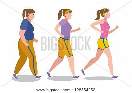 Weight loss stages on white background. Girl lose weight, keep fit and follow a diet. Become thin and slim. Shape change. Fit female character.