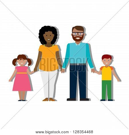 Multicultural traditional family with parents and children. Happy family. Boy and girl. African american mother. Bearded dad.