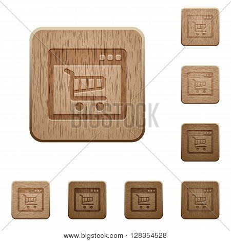 Set of carved wooden Webshop application buttons in 8 variations.
