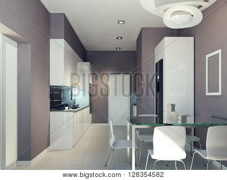 High-tech kitchen design, contrast of white and beige. 3d render