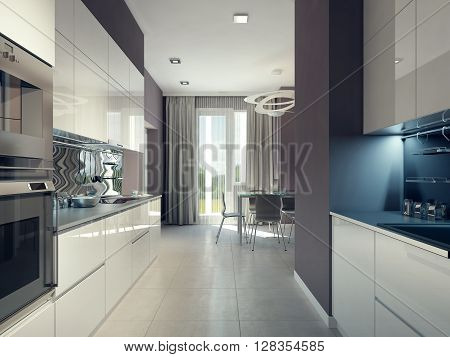 Bright kitchen design in avant garde style. 3d render