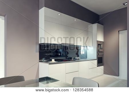 Avant-garde kitchen interior design in daylight. 3d render