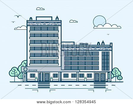 Stock vector illustration city street with contemporary multistorey hospital, modern architecture in line style element for infographic, website, icon, games, motion design