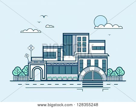 Stock vector illustration city street with kindergarten, nursery school, day care center, infant school, playschool, modern architecture in line style element for info graphic, website, icon, design