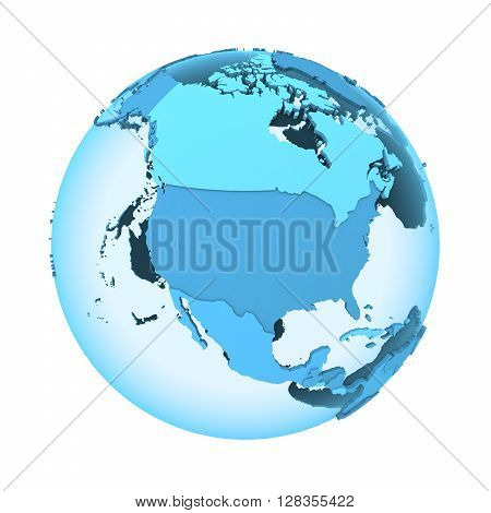 North America On Translucent Earth