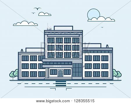 Stock vector illustration city street with police station, modern architecture in line style element for infographic, website, icon, games, motion design