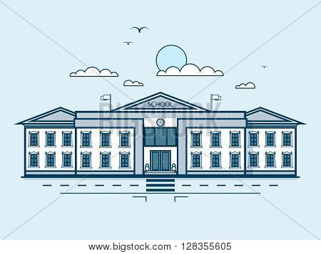 Stock vector illustration city street with school, educational center, modern architecture in line style element for infographic, website, icon, games, motion design, video