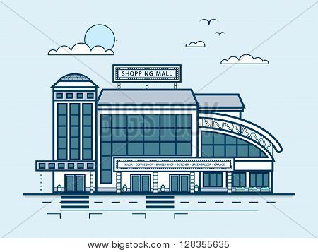 Stock vector illustration city street with Moll, shopping center, modern architecture in line style element for infographic, website, icon, games, motion design, video