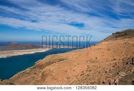 Graciosa Island and Mirador del Rio Lanzarote Island Canary Islands Spain ** Note: Visible grain at 100%, best at smaller sizes