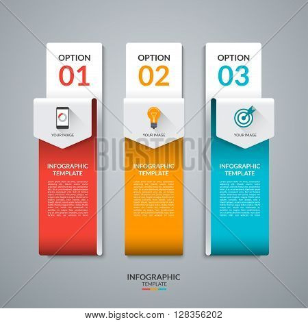 Abstract infographic template in the form of curved paper arrows. Vector banner with three tabs, steps, parts, options. Can be used for data visualization, workflow layout, chart, diagram, web design