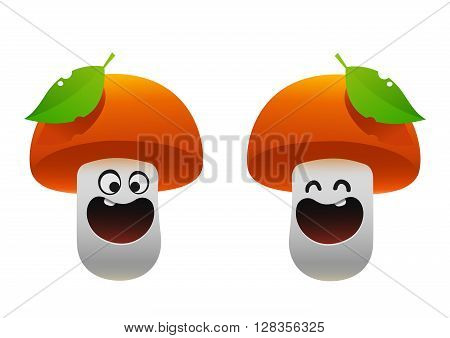 cheerful mushroom smiling two types and leaf