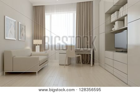 Living room avant-garde style in cream color. 3d render