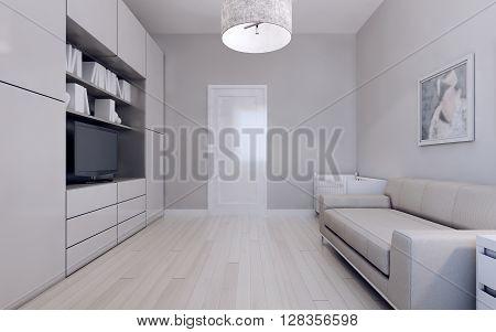Living room with infant bed. 3d render