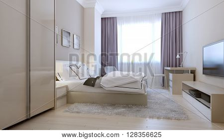 Bedroom in scandinavian style, master bedroom. 3d render