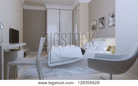 Modern hotel bedroom interior design. 3d render