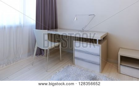 Working area in modern bedroom. 3d render