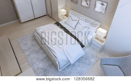 Contemporary bedroom style in light colors. 3d render