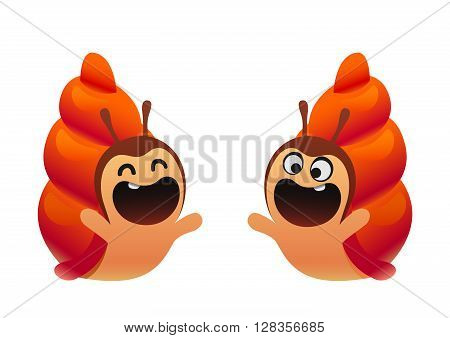 Funny snail cartoon red two types cute