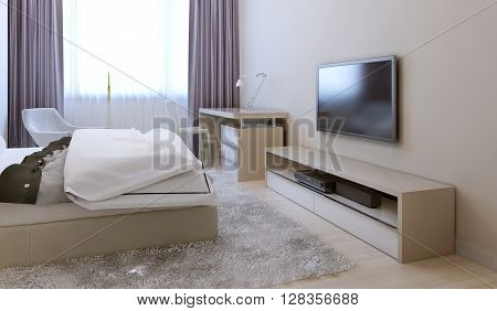 Bedroom in avant-garde style with light color furniture. 3d render