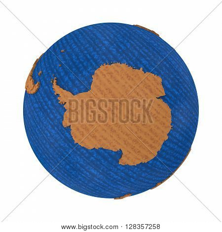 Antarctica On Wooden Earth