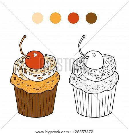 Coloring Book, Vector Cupcake With Cherry Berry