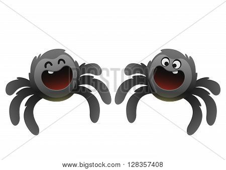 cheerful black spider smiling broadly two types