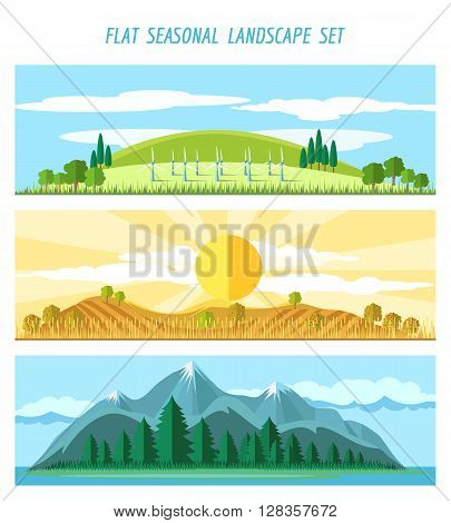 Nature landscape banners with river and mountains, fields and clouds vector illustration