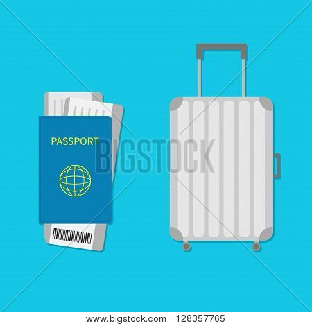 Suitcase icon. Travel baggage. Luggage handbag. Summer vacation planning consept. Travelling tourism. Passport air boarding pass ticket barcode.Passenger case. Flat Isolated. Blue background Vector