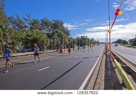 Runners Competing In Marathon In Durban South Africa
