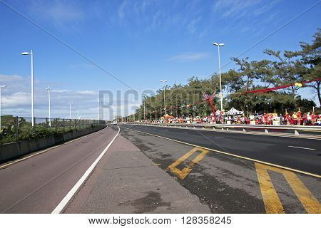 Empty Road And Marathon Runners In Durban South Africa