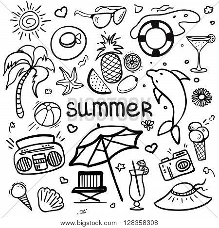 Vector sketchy line art Doodle cartoon set of objects and symbols for summer holidays. Vector illustration for web mobile and print.