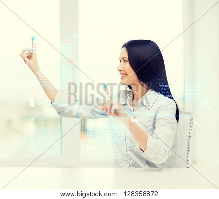 business and new technology concept - smiling woman pressing buttons on virtual screen