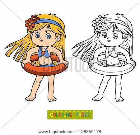Coloring Book For Children. Little Girl On The Beach