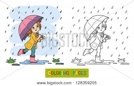 Coloring Book. Girl Running With An Umbrella In The Rain