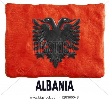 Flag of the Albania made of plasticine