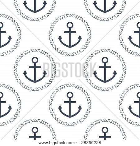 Seamless vector pattern with navy blue anchors and rope circles on white background