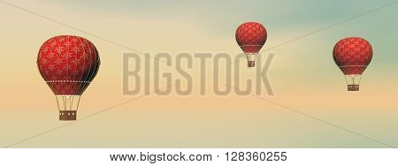 Three vintage red hot air balloons by sunset - 3D render