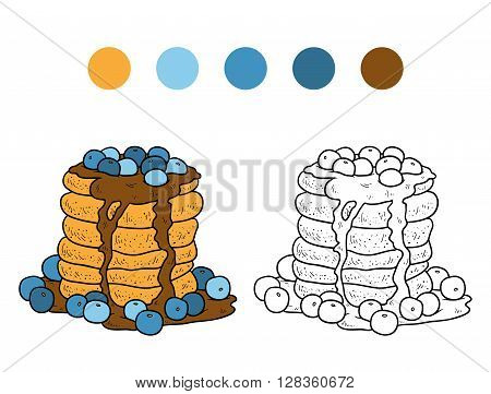 Coloring Book, Vector Pancakes With Blueberry