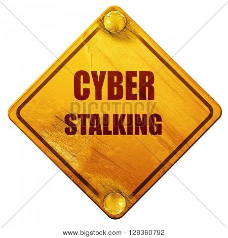 Cyber stalking background, 3D rendering, isolated grunge yellow