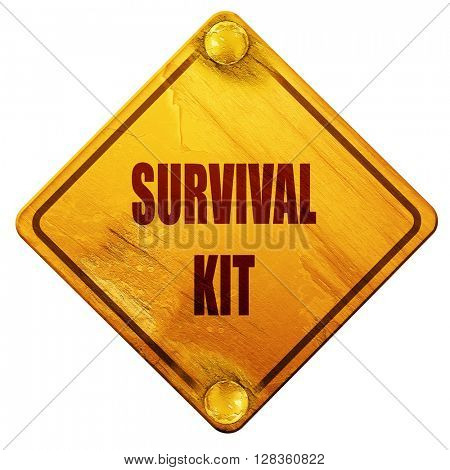 Survival kit sign, 3D rendering, isolated grunge yellow road sig