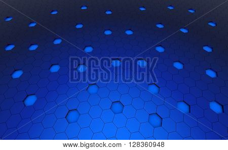 Hexagonal blue cell texture. Speaker grille. Fashion geometric design. Graphic style for wallpaper wrapping fabric apparel print production.