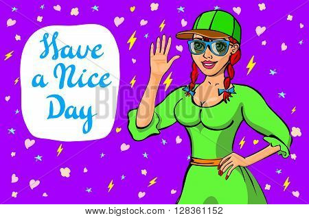 Cute Girl Wish You A Nice Day. Vector Illustration. It Can Be Used As Gluing Either Card, For Wish O