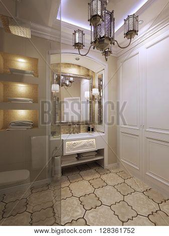Bathroom in eastern style, luxury furniture. 3d render