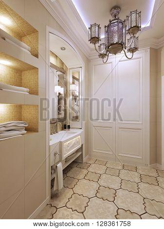 Bright bathroom design in classic style. 3d render